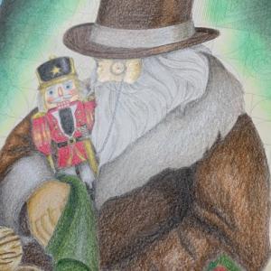 くるみ割り人形とおじいさんの塗り絵【クリスマス・イブ】の夜っぽく