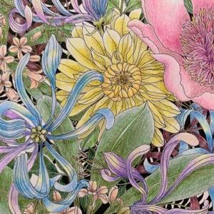 葉っぱから先に塗ってみた『世界一美しい花のぬり絵』冒険した1枚