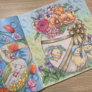 無印色鉛筆で【ヒヨコと卵とお花】を塗ってみた!愛らしい動物たちより