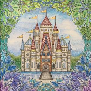 【ねむれる森よりお城のぬり絵】プリズマカラーで背景を描き足してみた