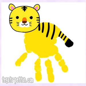 虎トラの手形アートデザイン案◆しまじろうの作品例もチェック!