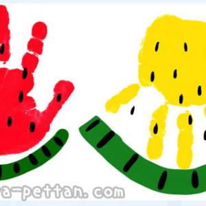 手形アートのスイカのデザイン案を紹介!手形・足形どっちも作れる!