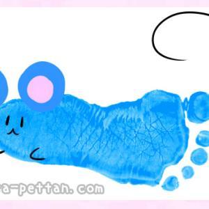 手形アートのねずみデザインを紹介◆手形足形どちらでもOK