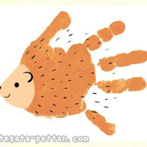 手形アートでハリネズミの作り方◆手形足形どちらでもOK