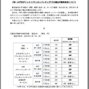【ニュース】みずほ銀行、手数料値上げ!