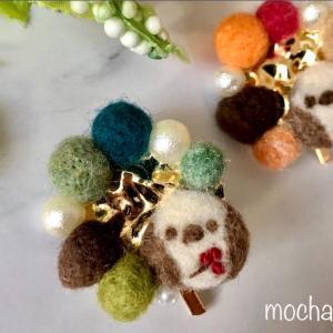 秋色のシマエナガちゃんのポニーフックの作り方・羊毛フェルト