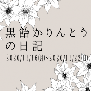 黒飴かりんとうの日記 2020/11/16(月)~2020/11/22(日)