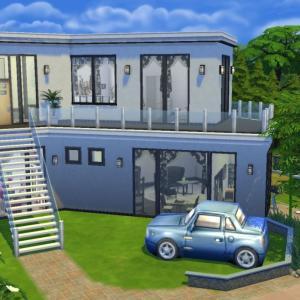ペットと暮らすファミリーの家。ダブルベッド1、幼児ベッド1、シングルベッド2。使用パック「Cats &...