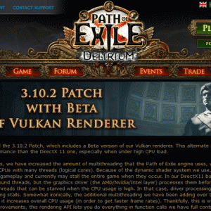 [PoE]3.10.2パッチで『Vulkan Renderer』のβ版がリリース!設定方法を説明