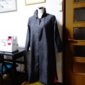 着物リメイク 大島コートが8分通り出来上がった