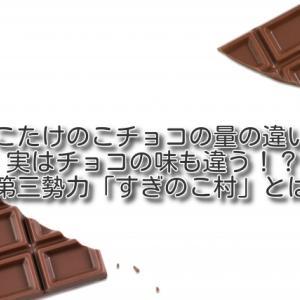きのこの山たけのこの里チョコの量の違いは?幻の第三勢力「すぎのこ村」とは?実はチョコの味も違う!?