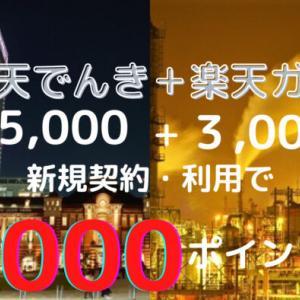 楽天でんき&楽天ガス 新規契約・利用して8,000円相当獲得! ~12/3(金)9:59