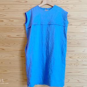 「着心地のよい、暮らしの服」から フレンチ袖のサックワンピースを縫いました