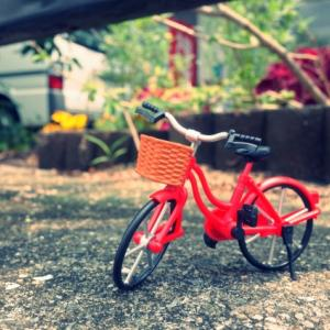 自転車の親子と父娘の距離
