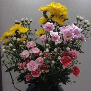 おはぎ作った。お花受け取りに行った。