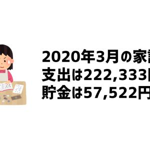 2020年3月の家計簿(支出は\222,333、貯金は\57,522)
