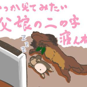 犬の多頭飼い暮らし漫画:おまけイラスト①【愛犬の変な寝相】