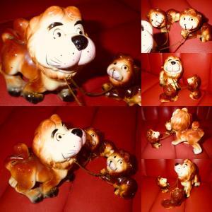 50'S★ライオンの親子★置物★ビンテージ★動物★アニマル★USA★インテリア★キッチン雑貨★