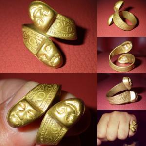 ビンテージ★ツーフェイス★リング★フリーサイズ★真鍮★ブラス★40'S★50'S★指輪★ロック