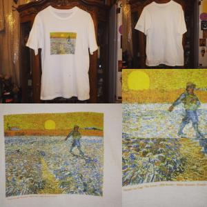 00'S★古着★フィンセント・ファン・ゴッホ★種まく人★名画★Tシャツ★白M★絵画★アート★アー