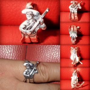 マリアッチ★スプーンリング★フリーサイズ★指輪★メキシコ★ギター★ビンテージ★音楽★楽団★