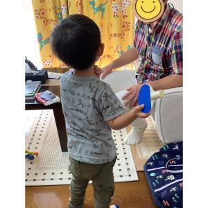卓球を気に入る息子、パパの誕生日✩.*˚