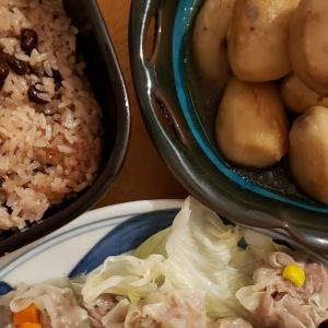 【今日の晩ごはん】手作りシュウマイと里芋の煮物、お赤飯