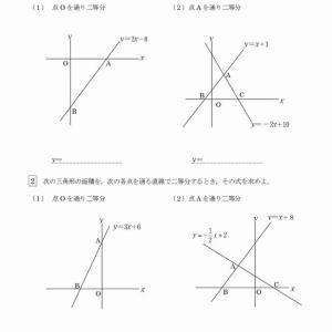 一次関数(面積二等分)