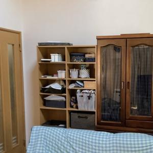 【収納】棚のガラス扉目隠しカーテンを作ってみました、ヒダがいい仕事しています