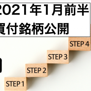 【売買状況】2021年1月前半の買付銘柄を公開