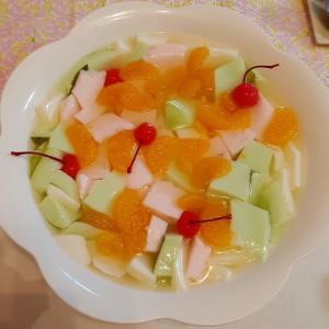 ひな祭りデザート 簡単ひし餅風牛乳寒天でフルーツポンチ