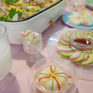 ひな祭りパーティーメニュー ホットプレート鯛めし、手まりしんじょう、アボカドかまぼこ