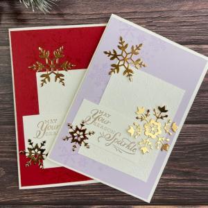 iクリスマスカード2色違いで(スノーフレークウィッシュスタンプセット)
