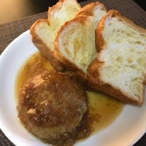 デニッシュ食パンと和風ハンバーグ~朝食