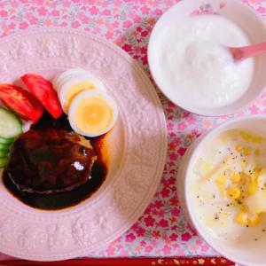 【料理】ハンバーグ×白菜のミルクスープ☆