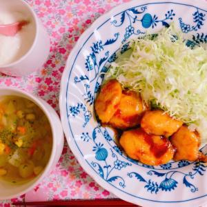 【料理】照り焼きチキンと野菜スープ☆