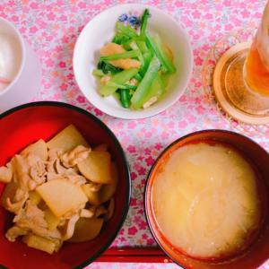 【食】豚バラ大根と小松菜の煮浸し☆