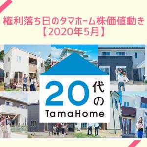 権利落ち日のタマホーム株価値動き【2020年5月】