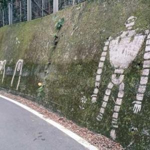 「峠を走っていたら突然現れた」苔を削って描かれたジブリキャラクターがすごい!
