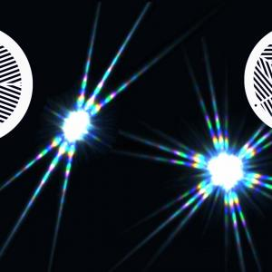 バーティノフマスクの違いによる光条スパイク像の比較