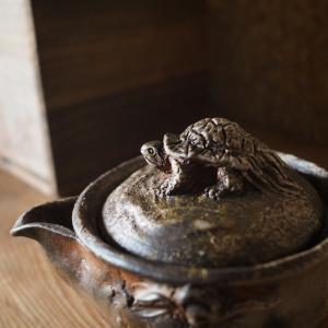 宝瓶の上の小さな小さな簑亀