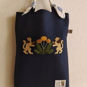 刺繍入り犬用レッスンバッグ 濃い布に刺繍をする方法