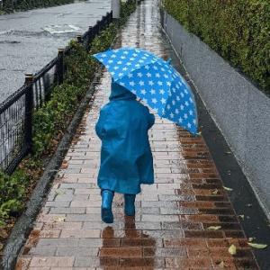 雨の日も、レインコートで子供と楽しく散歩。