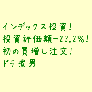 インデックス投資!投資評価額-23.2%!初の買増し注文!なドテ煮男