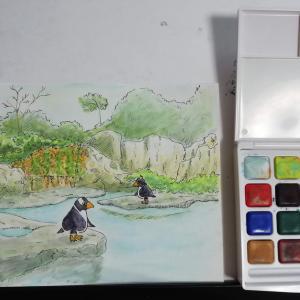 水彩画5枚目「佇むペンギン達」🐧