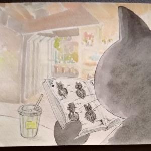 水彩画29枚目「カフェにて」