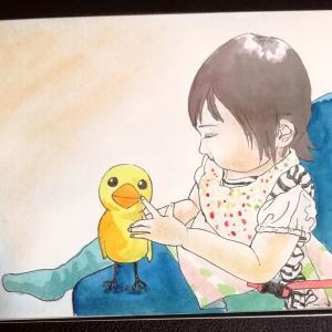 水彩画32枚目「ひよこの人形」🐥