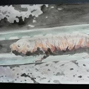 水彩画43枚目「地下を行く」