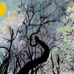 水彩画105枚目「コウモリの森」🦇