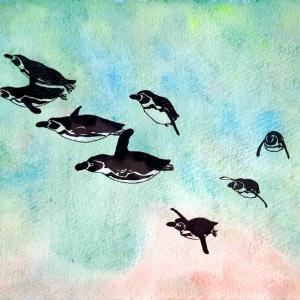 水彩画147枚目「泳ぐペンギンたち」